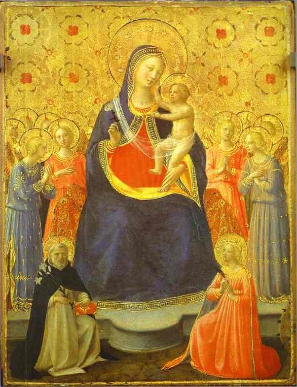 Дева Мария с младенцем и святыми Домиником и Аурой