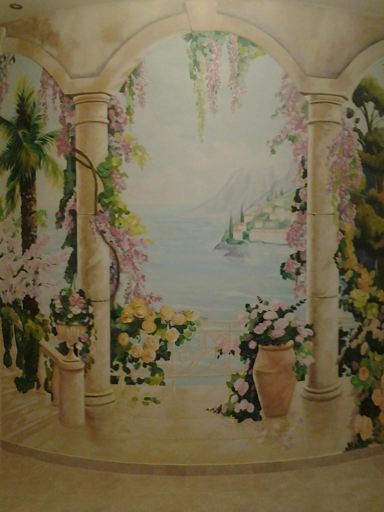 итальянский пейзаж, роспись спальни, роспись прихожей, роспись стены