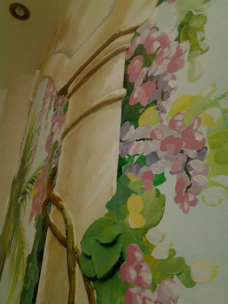 пейзаж на нарисованный на стене
