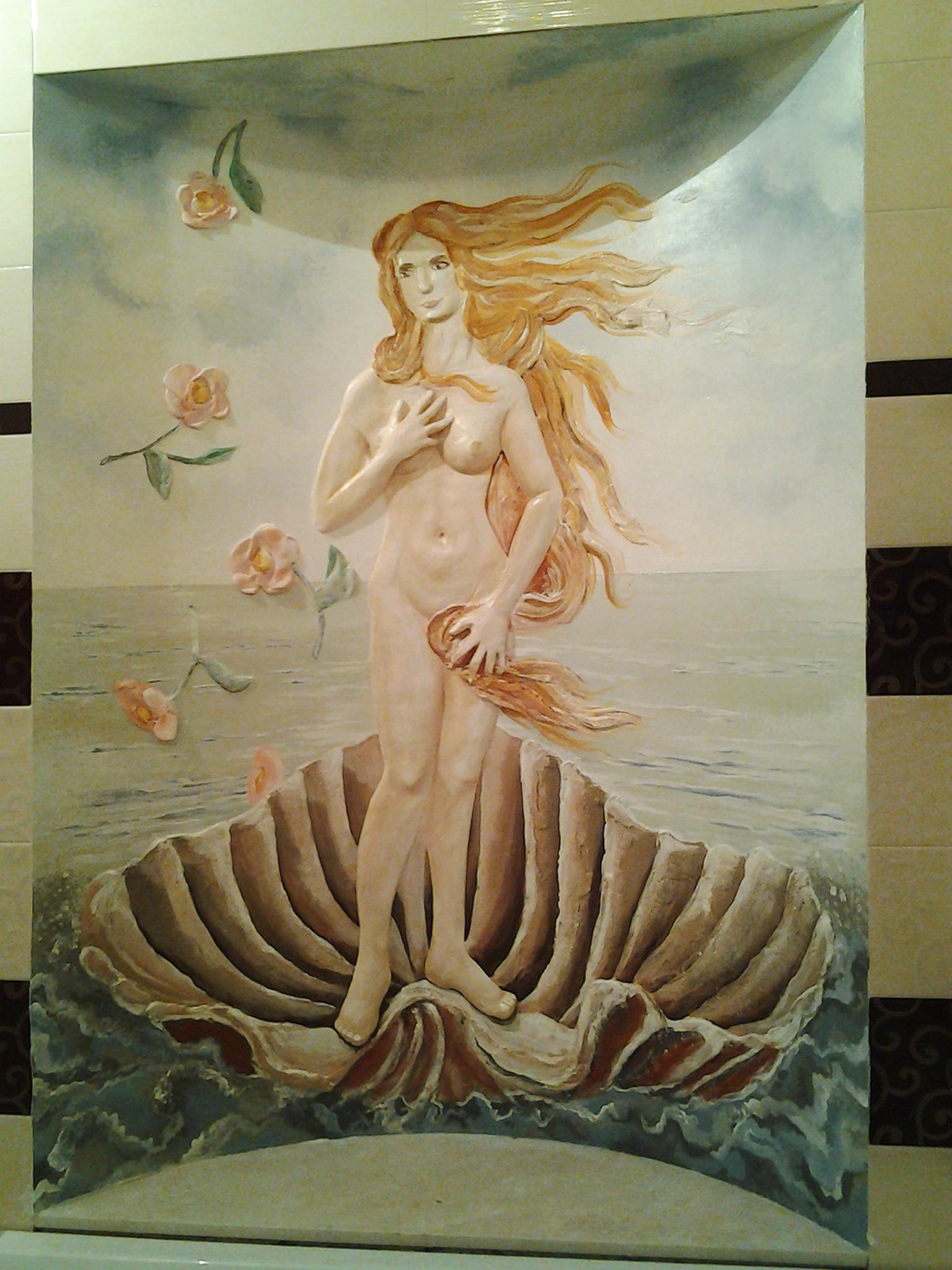 рождение венеры, девушка в ракушке, море
