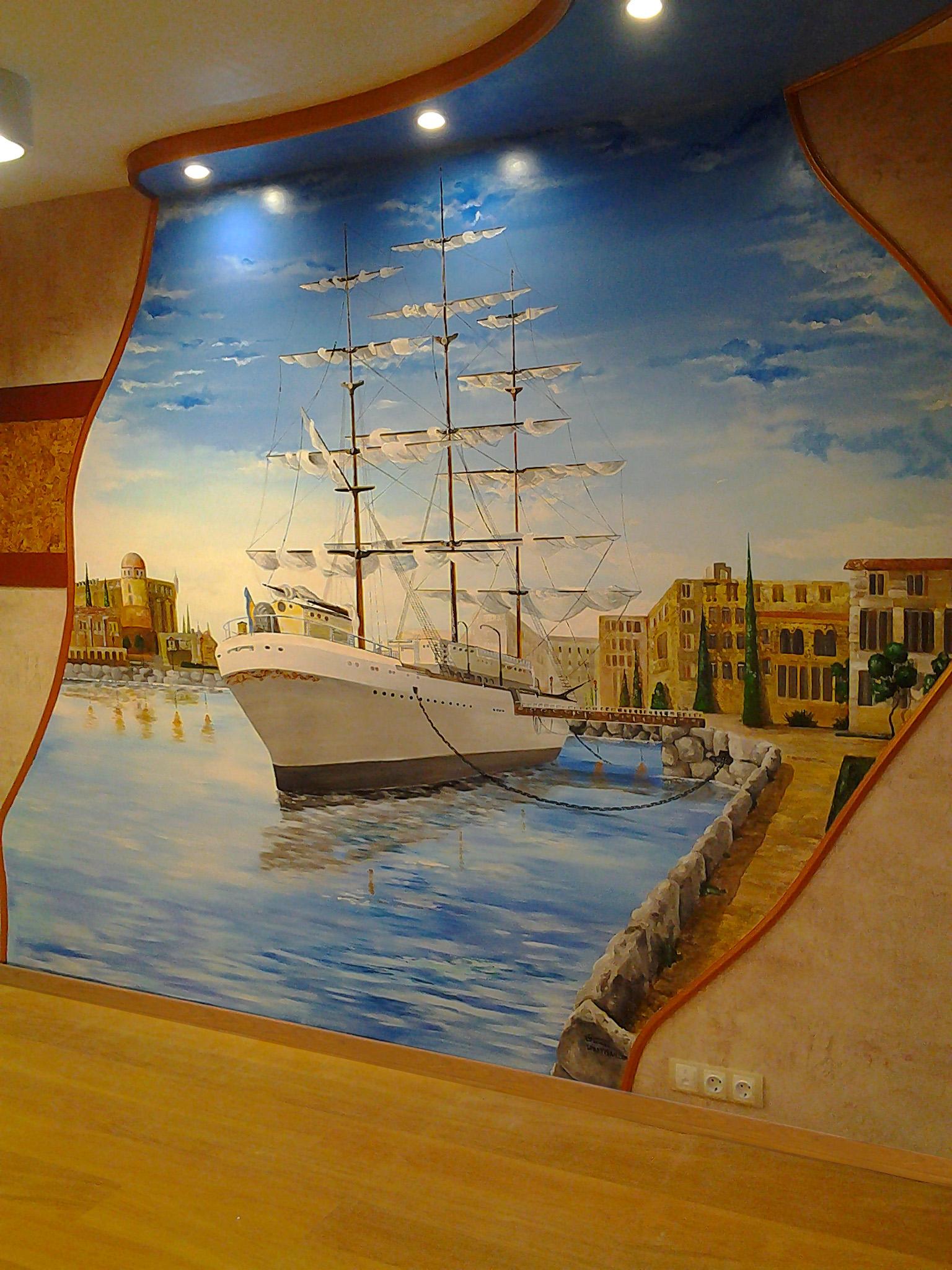 нарисованный корабль