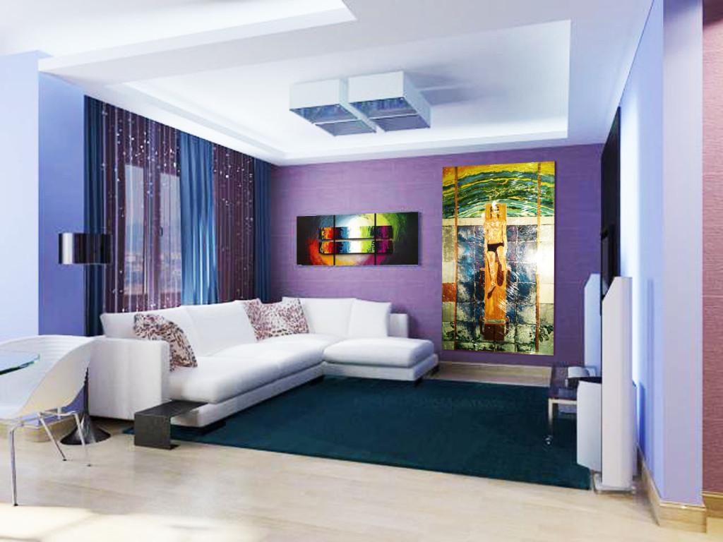 Вертикальное расположение картины в квартире